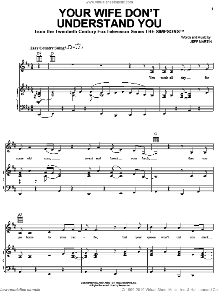 Your Wife Don't Understand You sheet music for voice, piano or guitar by The Simpsons and Jeff Martin, intermediate skill level
