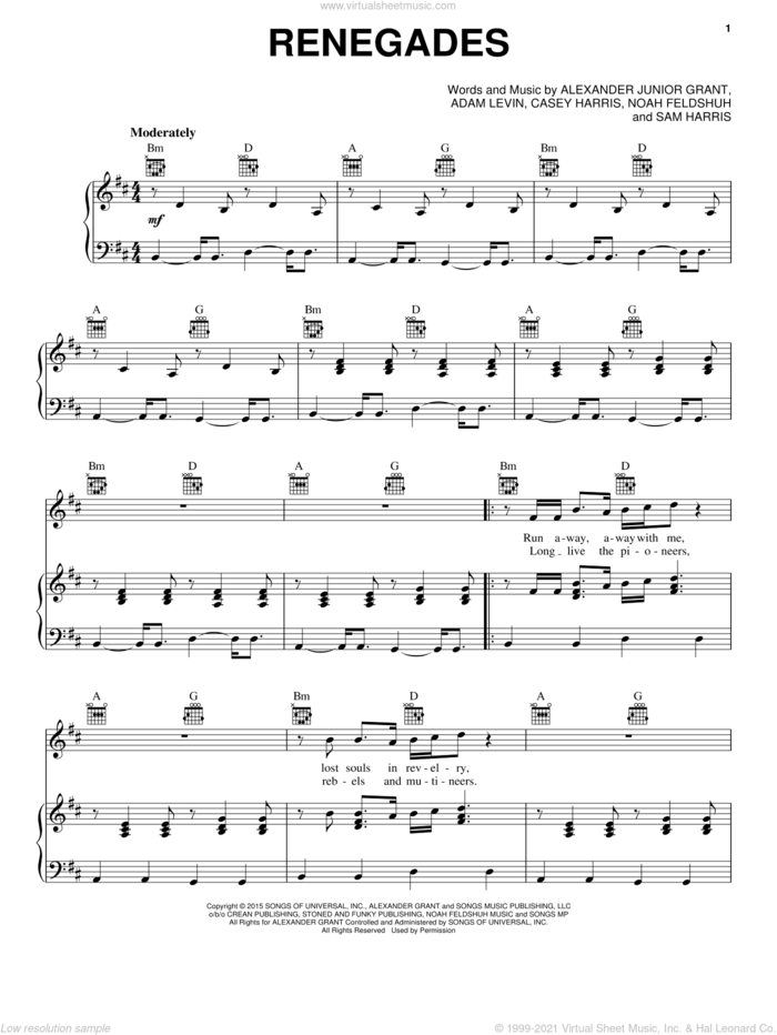 Renegades sheet music for voice, piano or guitar by X Ambassadors, Adam Levin, Alexander Junior Grant, Casey Harris, Noah Feldshuh and Samuel Harris, intermediate skill level