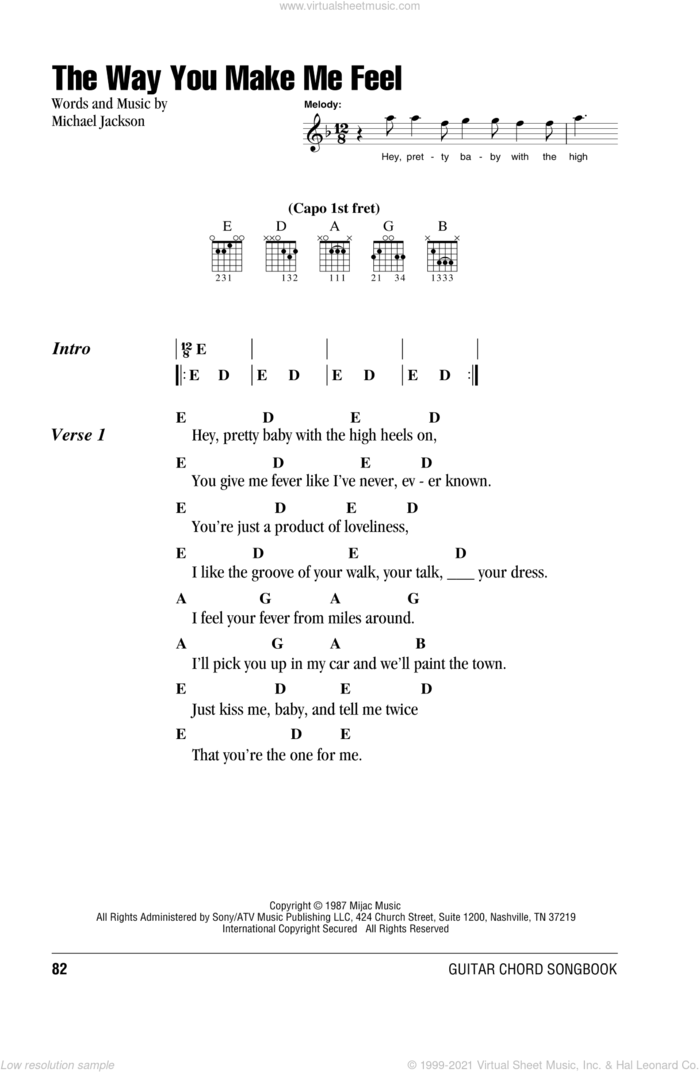 The Way You Make Me Feel sheet music for guitar (chords) by Michael Jackson, intermediate skill level