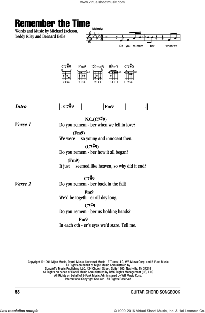 Remember The Time sheet music for guitar (chords) by Michael Jackson, Bernard Belle and Teddy Riley, intermediate skill level
