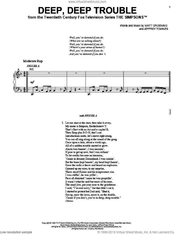 Deep, Deep Trouble sheet music for voice, piano or guitar by The Simpsons, Jeffrey Townes and Matt Groening, intermediate skill level