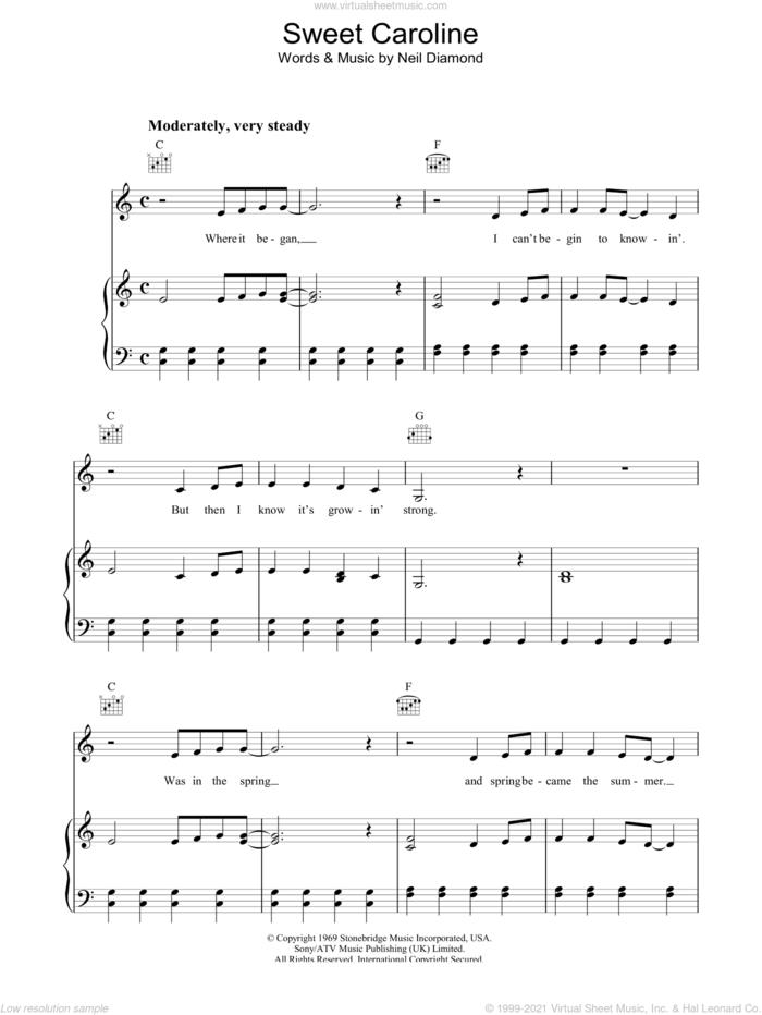 Sweet Caroline sheet music for voice, piano or guitar by Neil Diamond, intermediate skill level