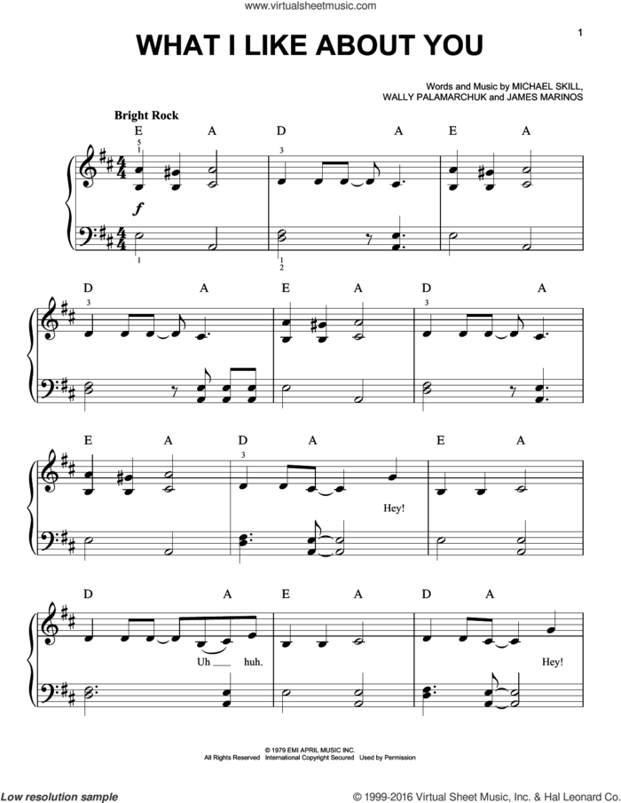 What I Like About You sheet music for piano solo by The Romantics, James Marinos, Michael Skill and Wally Palamarchuk, easy skill level