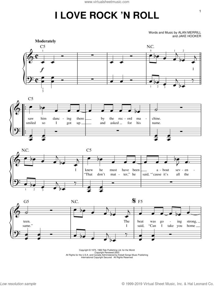 I Love Rock 'N Roll sheet music for piano solo by Joan Jett & The Blackhearts, Alan Merrill and Jake Hooker, easy skill level