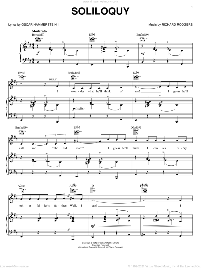 Soliloquy sheet music for voice, piano or guitar by Rodgers & Hammerstein, Carousel (Musical), Oscar II Hammerstein and Richard Rodgers, intermediate skill level