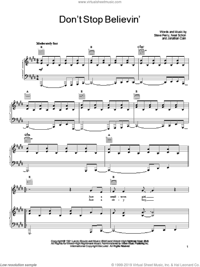 Don't Stop Believin' sheet music for voice, piano or guitar by Journey, Miscellaneous, Jonathan Cain, Neal Schon and Steve Perry, intermediate skill level