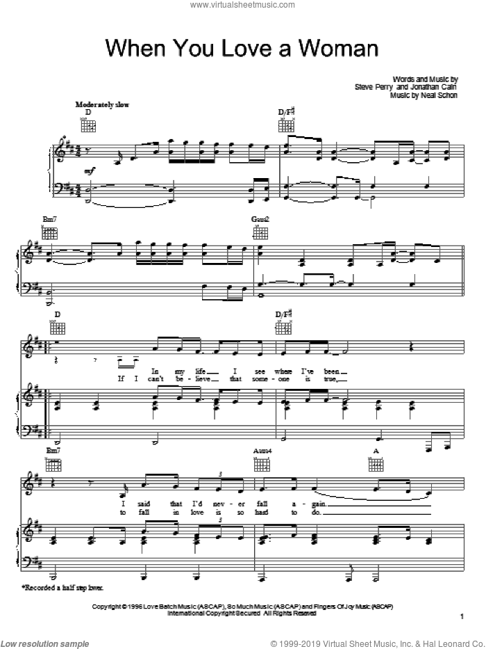 When You Love A Woman sheet music for voice, piano or guitar by Journey, Jonathan Cain, Neal Schon and Steve Perry, intermediate skill level