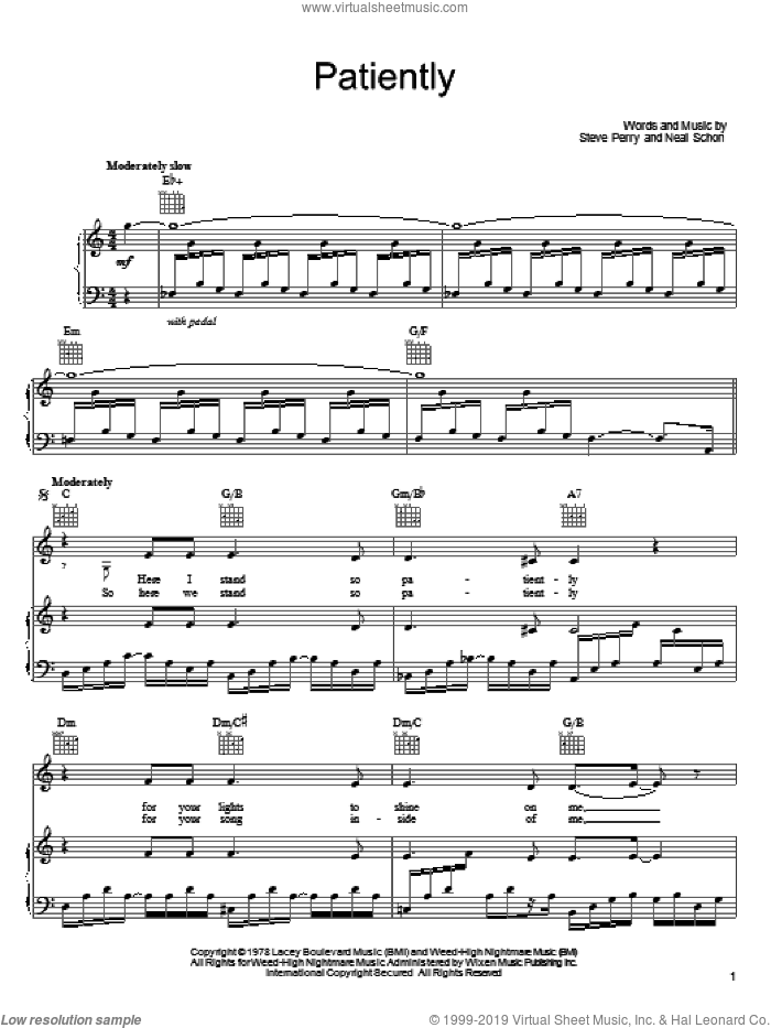 Patiently sheet music for voice, piano or guitar by Journey, Neal Schon and Steve Perry, intermediate skill level