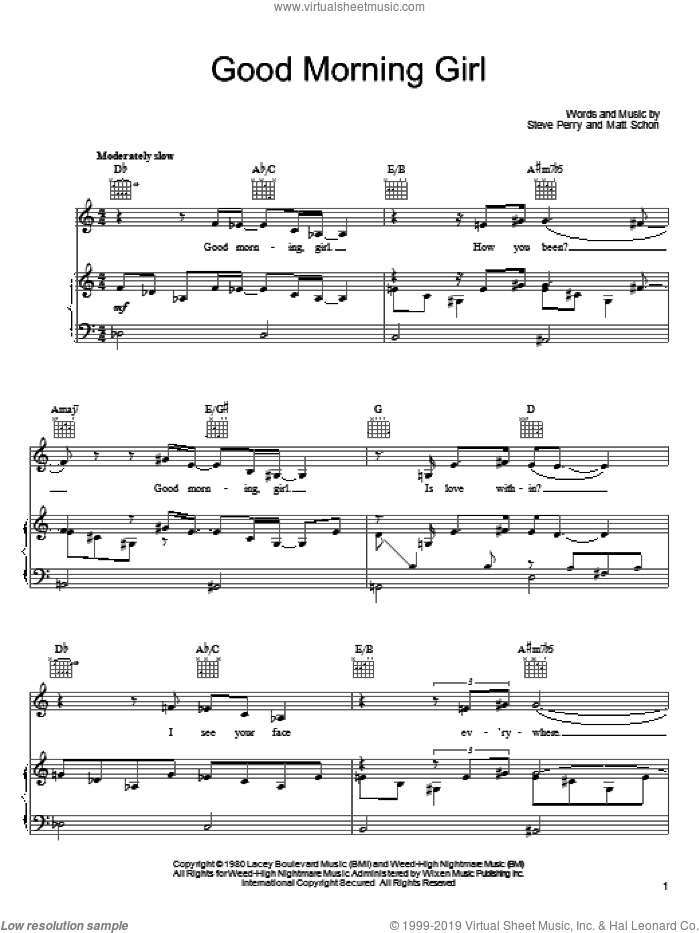 Good Morning Girl sheet music for voice, piano or guitar by Journey, Matt Schon and Steve Perry, intermediate skill level