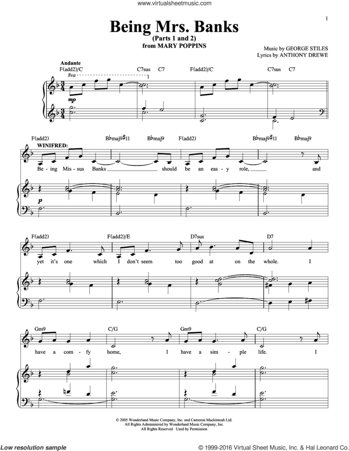 Being Mrs. Banks (Parts 1 and 2) sheet music for voice and piano by Anthony Drewe and George Stiles, intermediate skill level