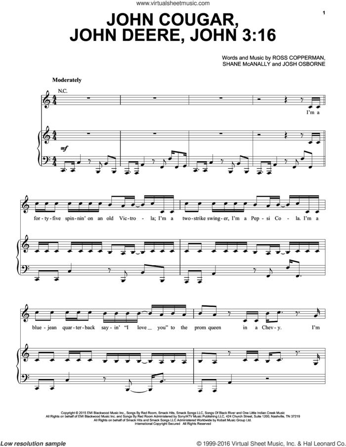 John Cougar, John Deere, John 3:16 sheet music for voice, piano or guitar by Keith Urban, Josh Osborne, Ross Copperman and Shane McAnally, intermediate skill level