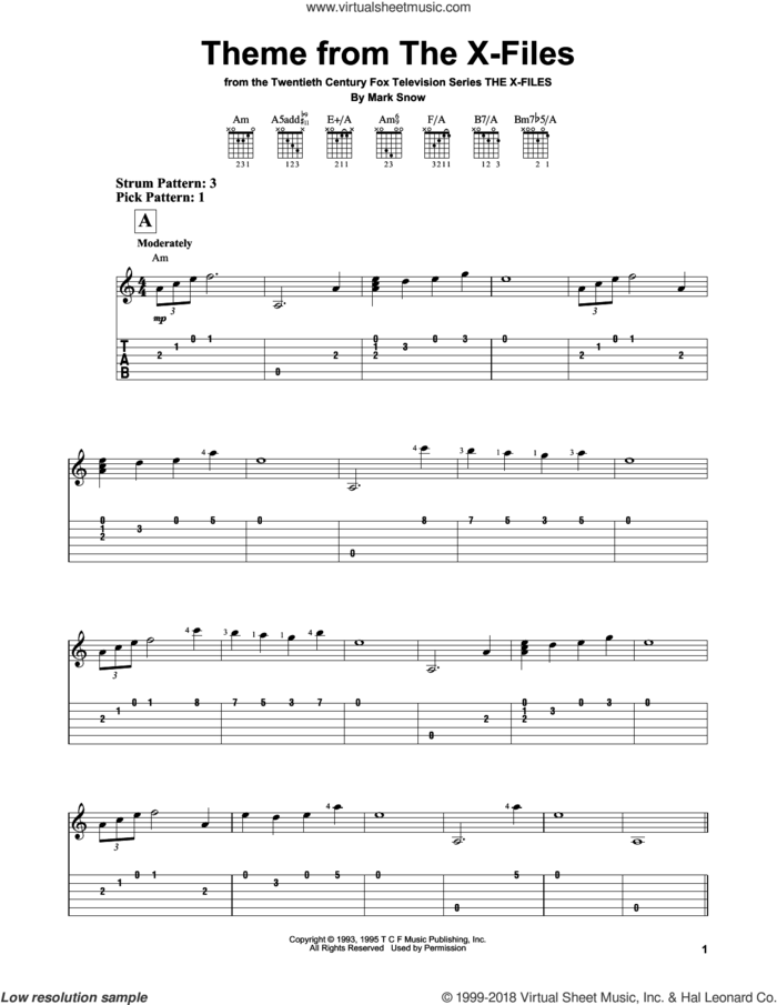 Theme From The X-Files sheet music for guitar solo (easy tablature) by Mark Snow, easy guitar (easy tablature)