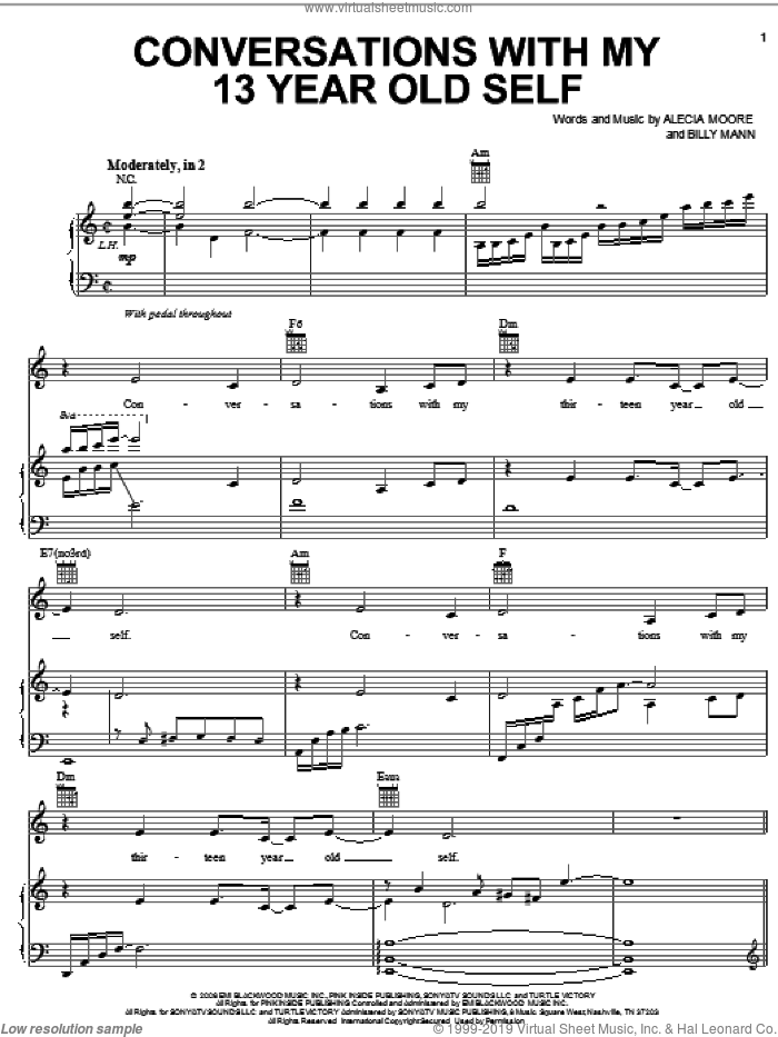Conversations With My 13 Year Old Self sheet music for voice, piano or guitar by Alecia Moore, Miscellaneous and Billy Mann, intermediate skill level