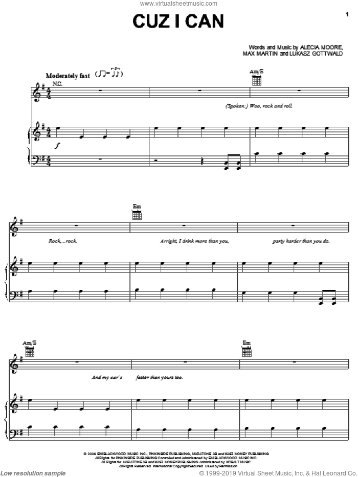 Cuz I Can sheet music for voice, piano or guitar by Max Martin, Miscellaneous, Alecia Moore and Lukasz Gottwald, intermediate skill level