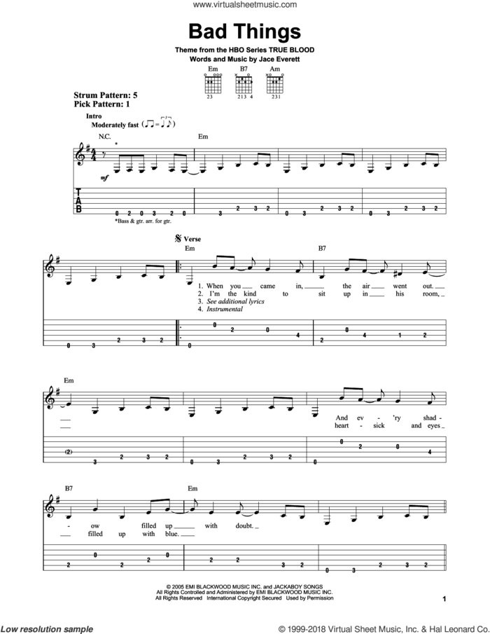Bad Things sheet music for guitar solo (easy tablature) by Jace Everett, easy guitar (easy tablature)