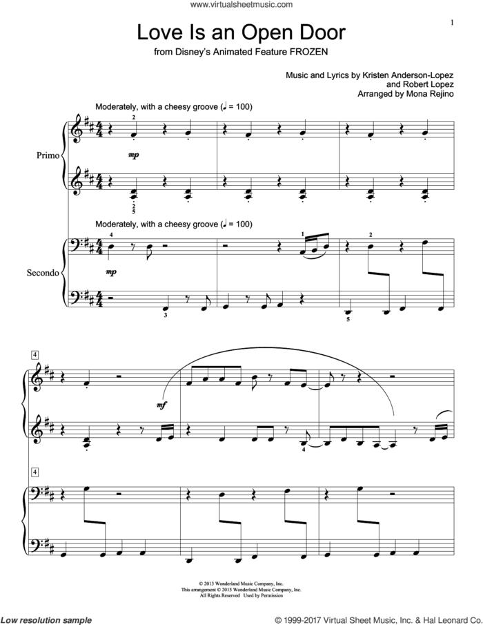 Love Is An Open Door (from Disney's Frozen) (arr. Mona Rejino) sheet music for piano four hands by Kristen Bell & Santino Fontana, Mona Rejino, Kristen Anderson-Lopez and Robert Lopez, intermediate skill level