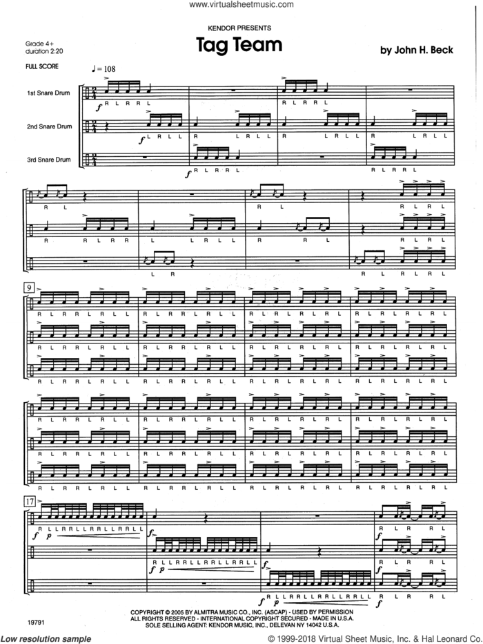 Tag Team (COMPLETE) sheet music for percussions by John H. Beck, intermediate skill level