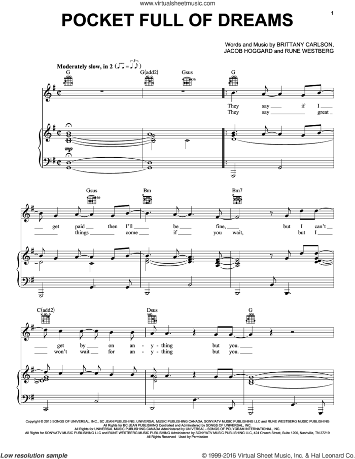 Pocket Full Of Dreams sheet music for voice, piano or guitar by Hedley, Brittany Carlson, Jacob Hoggard and Rune Westberg, intermediate skill level