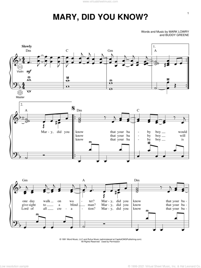 Mary, Did You Know? sheet music for accordion by Buddy Greene, Gary Meisner, Kathy Mattea and Mark Lowry, intermediate skill level