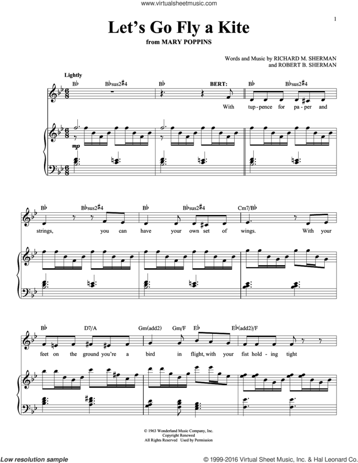 Let's Go Fly A Kite sheet music for voice and piano by Marc Shaiman & Scott Wittman, Richard M. Sherman and Robert B. Sherman, intermediate skill level