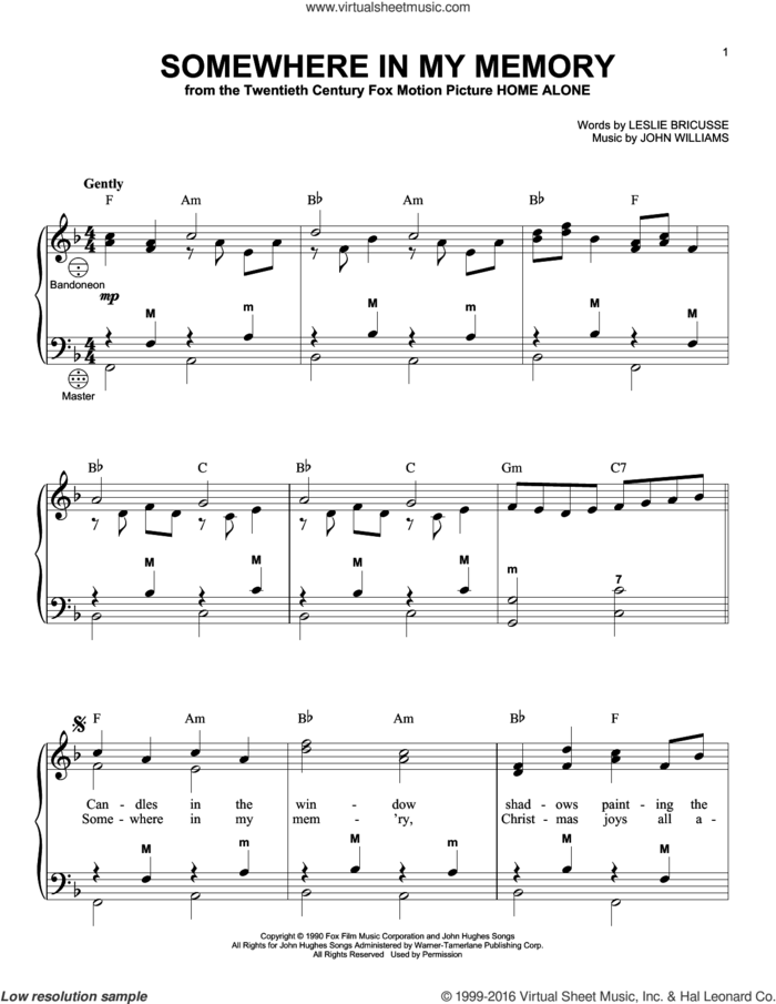 Somewhere In My Memory sheet music for accordion by John Williams, Gary Meisner and Leslie Bricusse, intermediate skill level