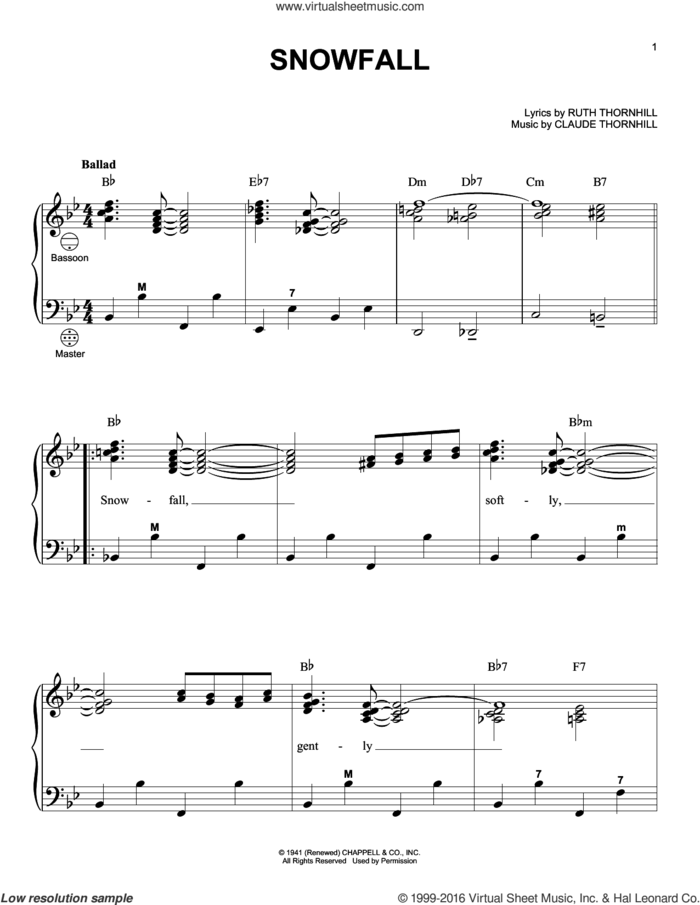 Snowfall sheet music for accordion by Claude Thornhill, Gary Meisner, Tony Bennett and Ruth Thornhill, intermediate skill level