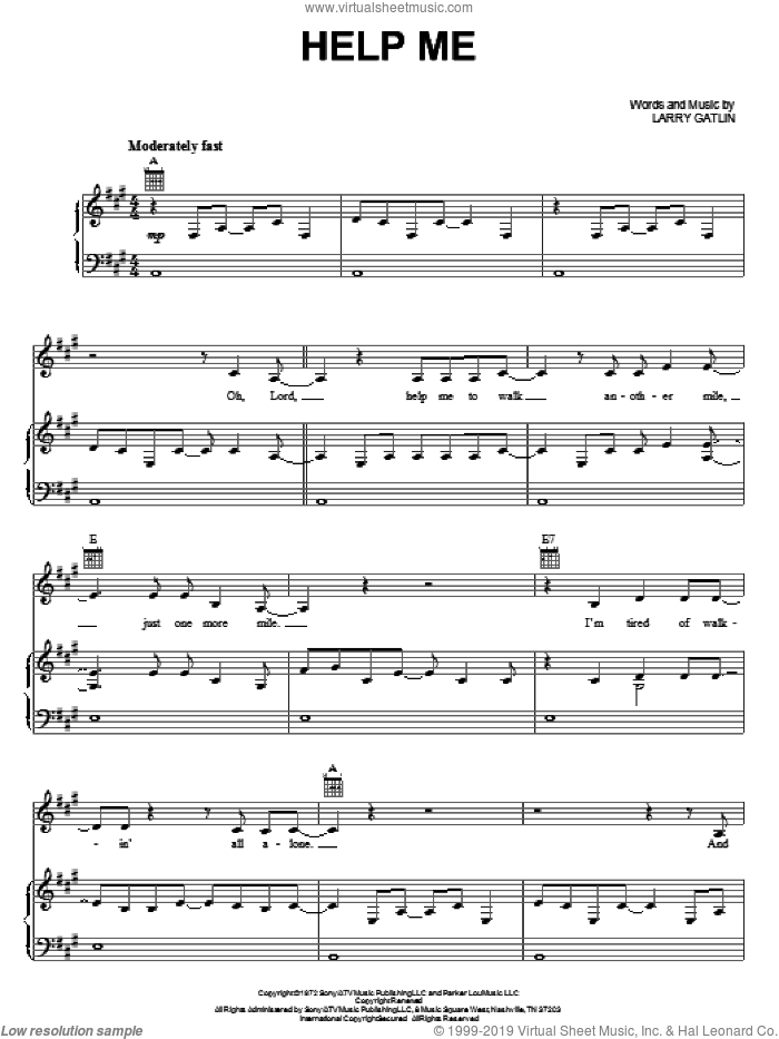 Help Me sheet music for voice, piano or guitar by Johnny Cash, Elvis Presley and Larry Gatlin, intermediate skill level