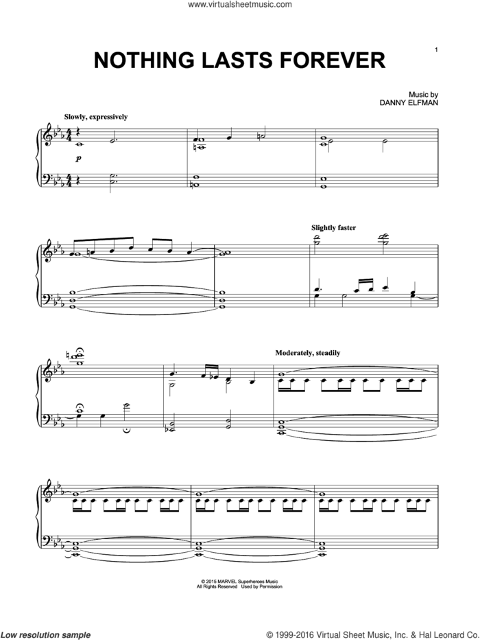 Nothing Lasts Forever sheet music for piano solo by Danny Elfman, intermediate skill level