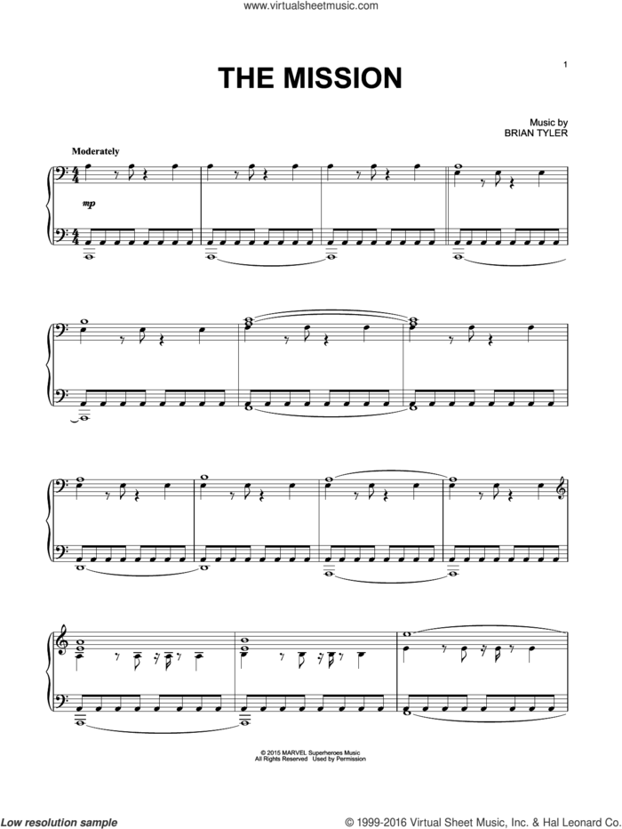 The Mission sheet music for piano solo by Brian Tyler, intermediate skill level