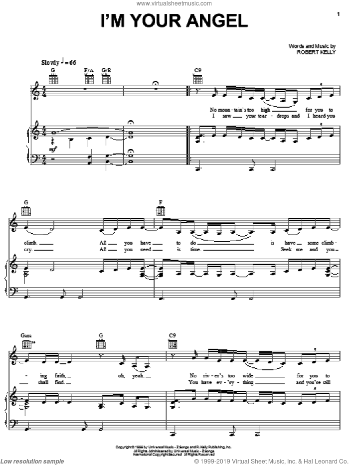 I'm Your Angel sheet music for voice, piano or guitar by Celine Dion and Robert Kelly, wedding score, intermediate skill level