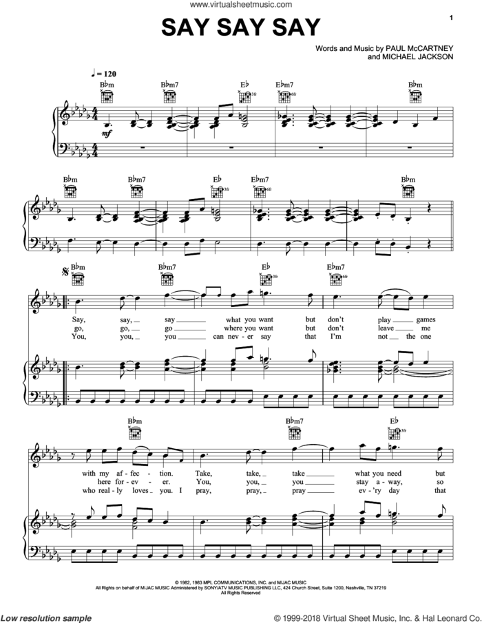 Say Say Say sheet music for voice, piano or guitar by Paul McCartney and Michael Jackson, Michael Jackson and Paul McCartney, intermediate skill level
