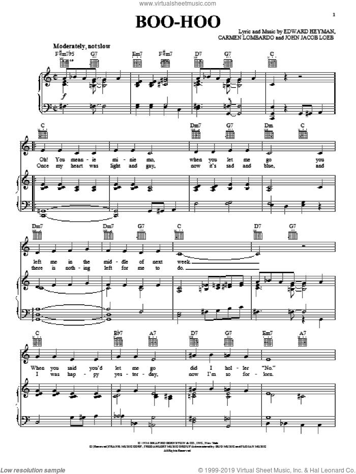 Boo-Hoo sheet music for voice, piano or guitar by Count Basie, Carmen Lombardo, Edward Heyman and John Jacob Loeb, intermediate skill level