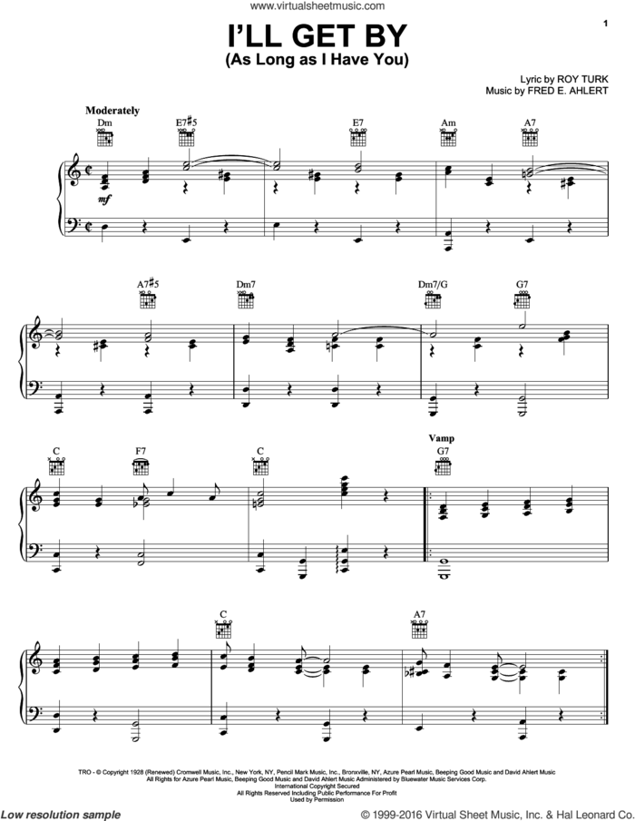 I'll Get By (As Long As I Have You) sheet music for voice, piano or guitar by Billie Holiday, Fred Ahlert and Roy Turk, intermediate skill level