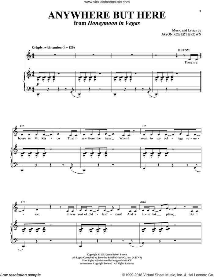 Anywhere But Here (from Honeymoon in Vegas) sheet music for voice and piano by Jason Robert Brown and Richard Walters, intermediate skill level