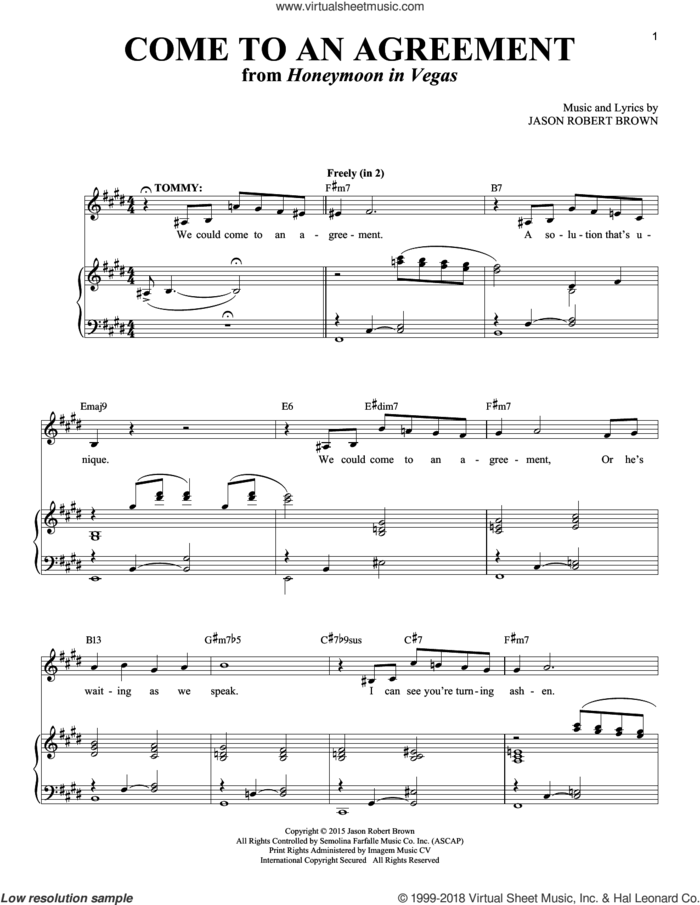 Come To An Agreement (from Honeymoon in Vegas) sheet music for voice and piano by Jason Robert Brown and Richard Walters, intermediate skill level