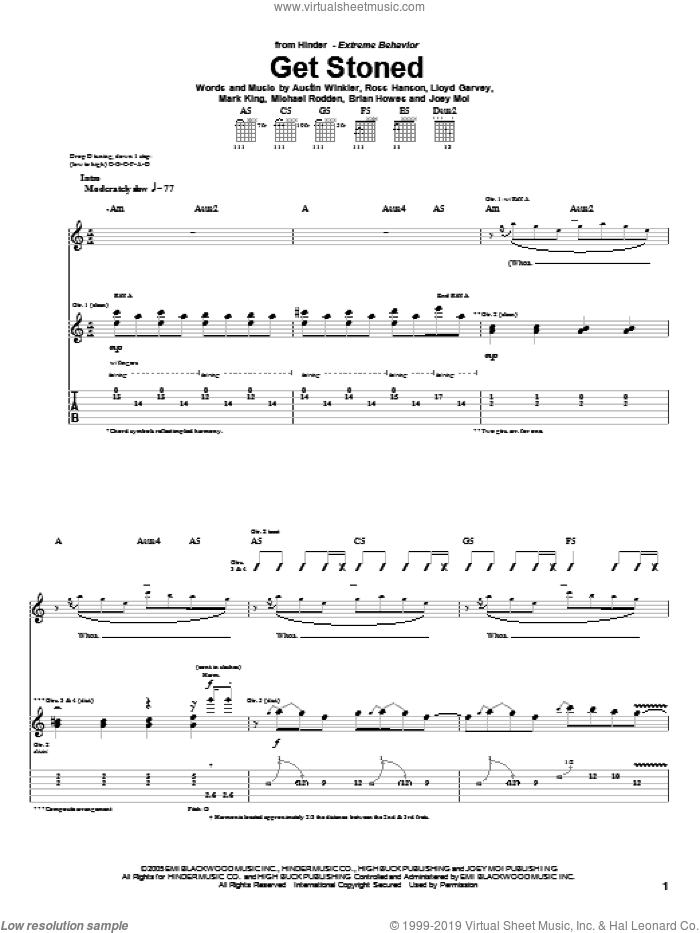 Get Stoned sheet music for guitar (tablature) by Hinder, Austin Winkler, Brian Howes, Joey Moi, Lloyd Garvey, Mark King, Michael Rodden and Ross Hanson, intermediate skill level