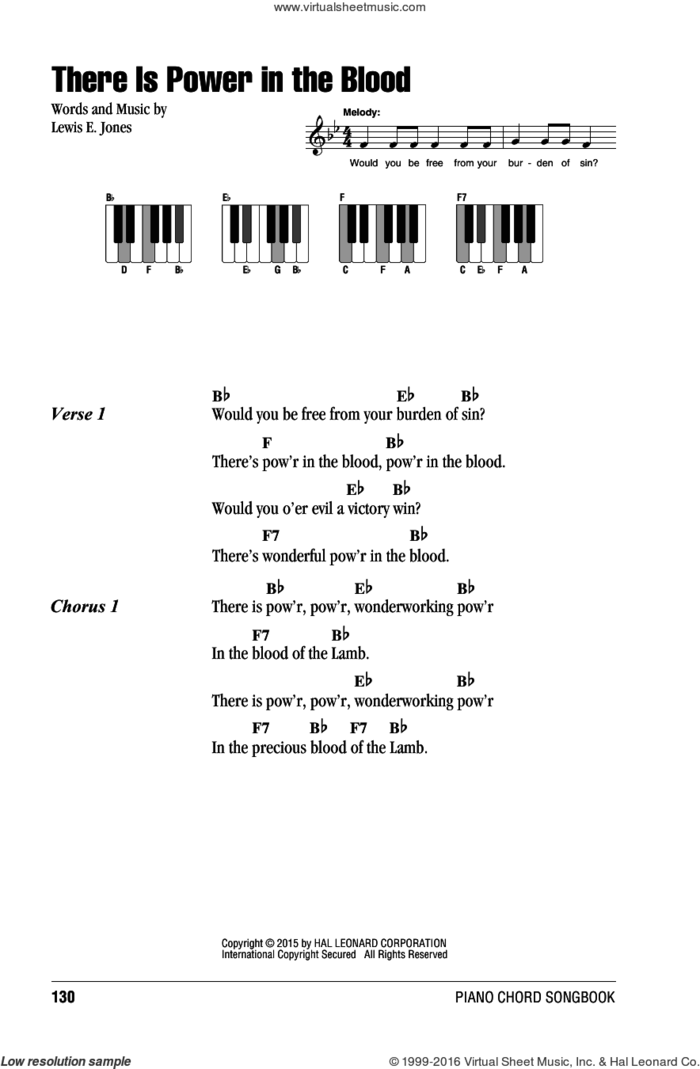There Is Power In The Blood sheet music for piano solo (chords, lyrics, melody) by Lewis E. Jones, intermediate piano (chords, lyrics, melody)