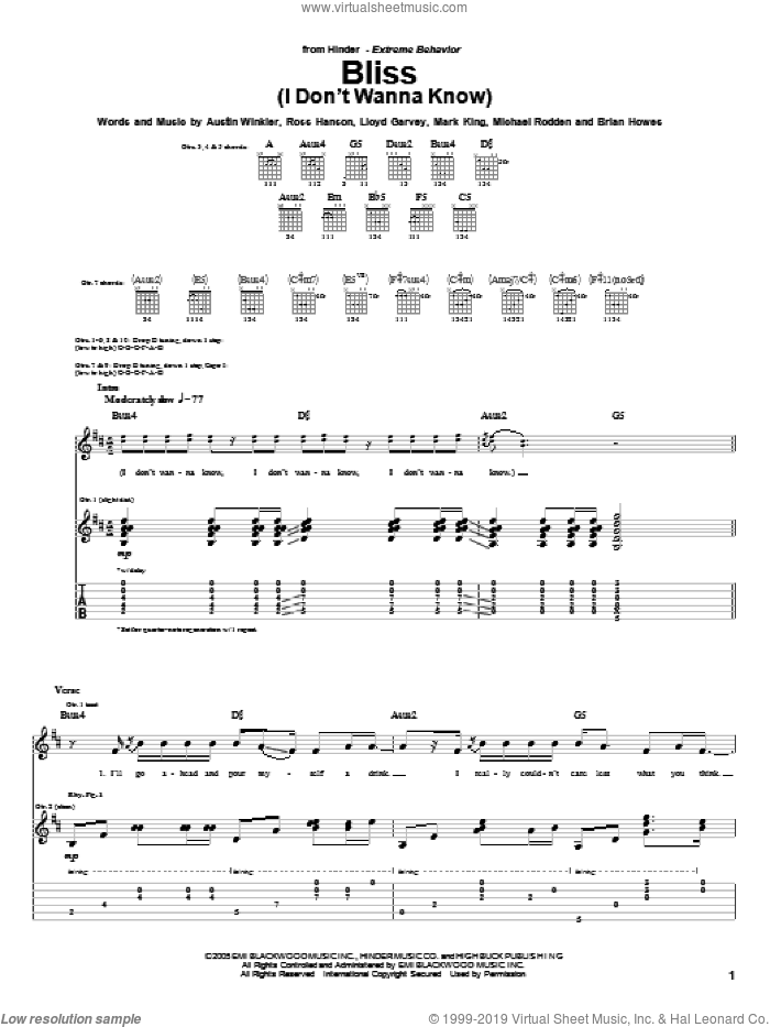 Bliss (I Don't Wanna Know) sheet music for guitar (tablature) by Hinder, Austin Winkler, Brian Howes, Lloyd Garvey, Mark King, Michael Rodden and Ross Hanson, intermediate skill level