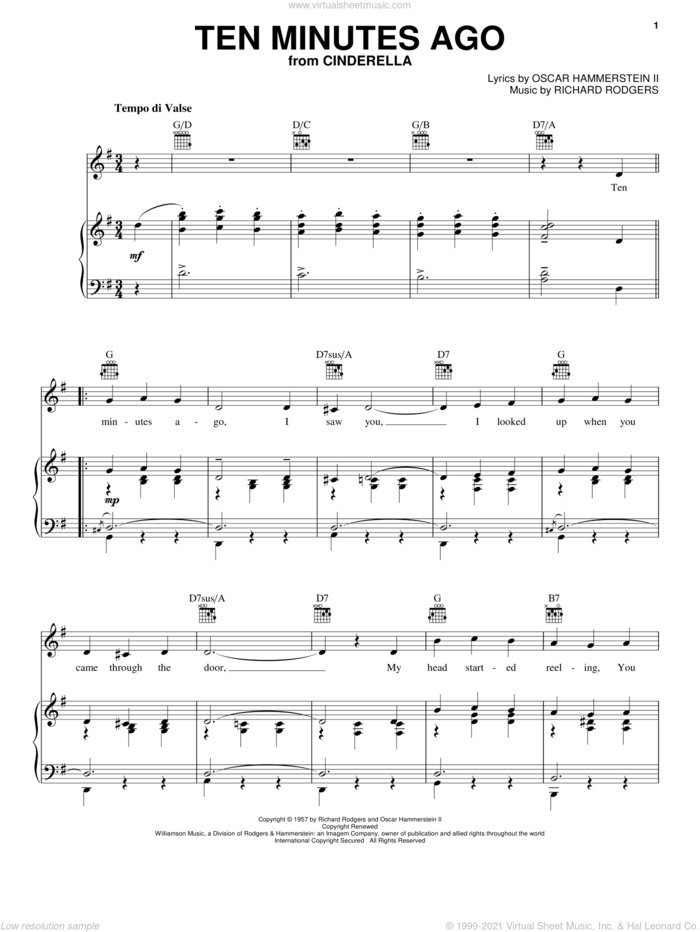 Ten Minutes Ago (from Cinderella) sheet music for voice, piano or guitar by Hammerstein, Rodgers &, Cinderella (Musical), Rodgers & Hammerstein, Oscar II Hammerstein and Richard Rodgers, intermediate skill level