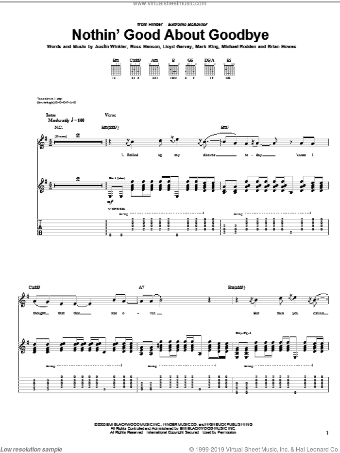Nothin' Good About Goodbye sheet music for guitar (tablature) by Hinder, Austin Winkler, Brian Howes, Lloyd Garvey, Mark King, Michael Rodden and Ross Hanson, intermediate skill level