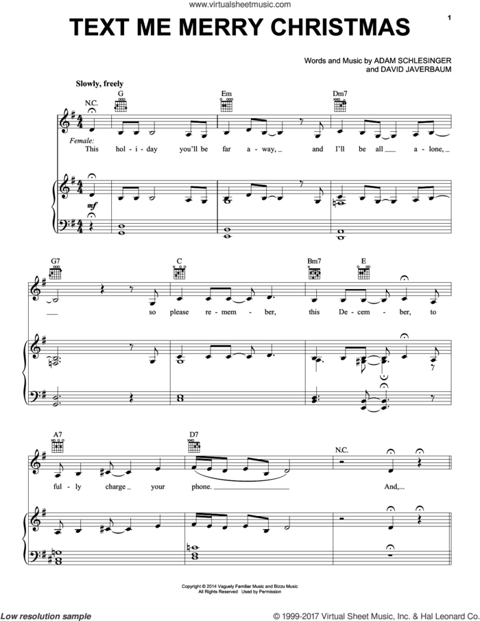 Text Me Merry Christmas sheet music for voice, piano or guitar by Straight No Chaser featuring Kristen Bell, Adam Schlesinger and David Javerbaum, intermediate skill level