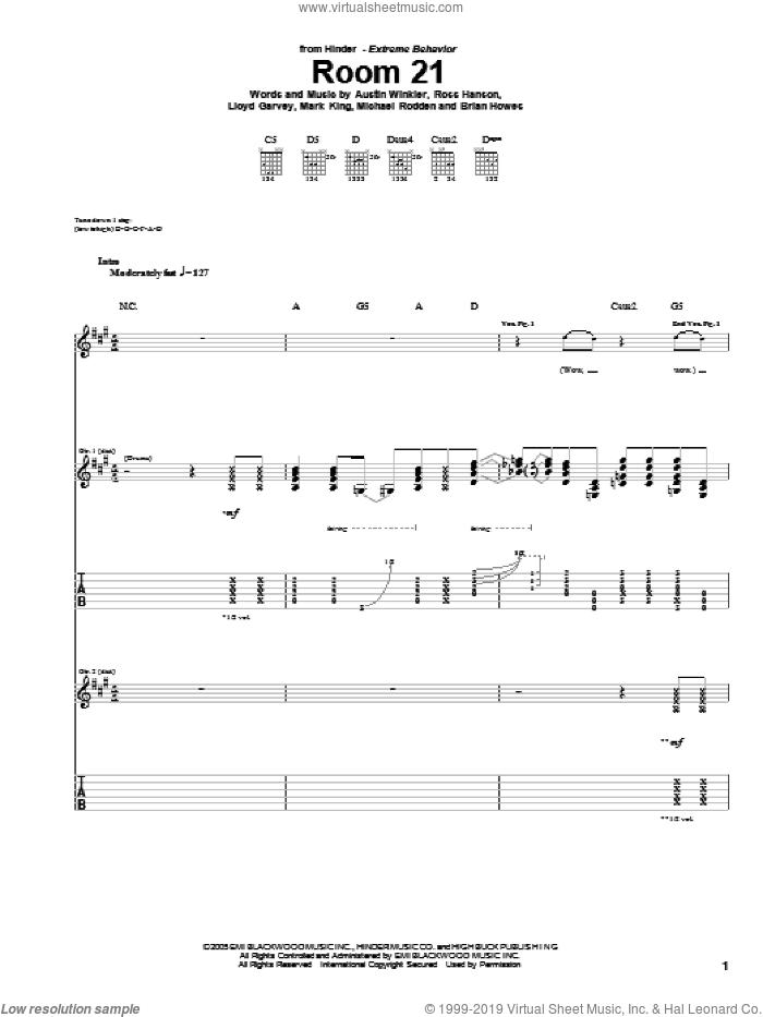 Room 21 sheet music for guitar (tablature) by Hinder, Austin Winkler, Brian Howes, Lloyd Garvey, Mark King, Michael Rodden and Ross Hanson, intermediate skill level