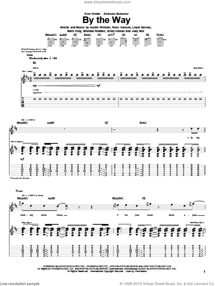 By The Way sheet music for guitar (tablature) by Hinder, Austin Winkler, Brian Howes, Joey Moi, Lloyd Garvey, Mark King, Michael Rodden and Ross Hanson, intermediate skill level