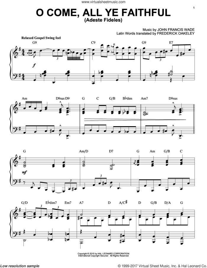 O Come, All Ye Faithful (Adeste Fideles) [Jazz version] (arr. Brent Edstrom) sheet music for piano solo by John Francis Wade and Frederick Oakeley (English), intermediate skill level