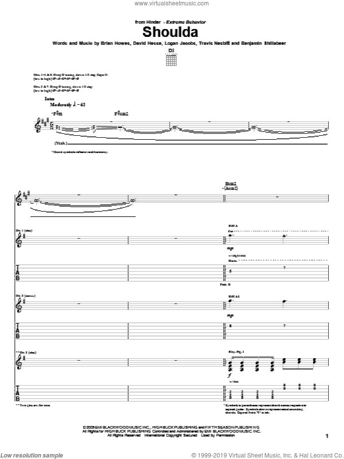 Shoulda sheet music for guitar (tablature) by Hinder, Benjamin Shillabeer, Brian Howes, David Hesse, Logan Jacobs and Travis Nesbitt, intermediate skill level