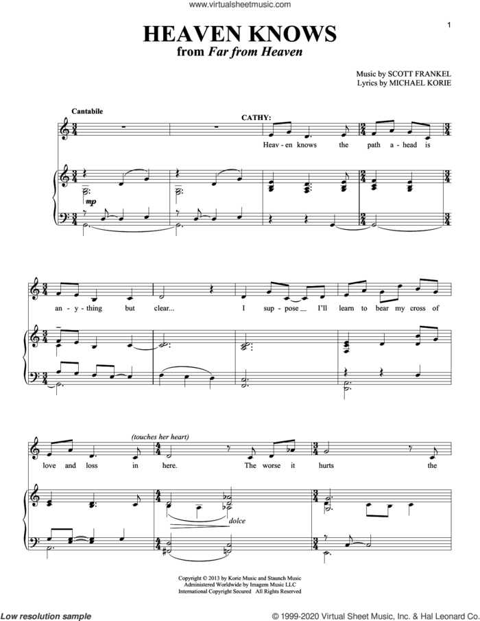 Heaven Knows sheet music for voice and piano by Scott Frankel, Richard Walters and Michael Korie, intermediate skill level