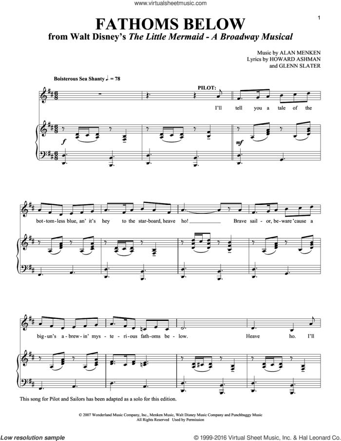 Fathoms Below sheet music for voice and piano by Alan Menken, Richard Walters, Glenn Slater and Howard Ashman, intermediate skill level