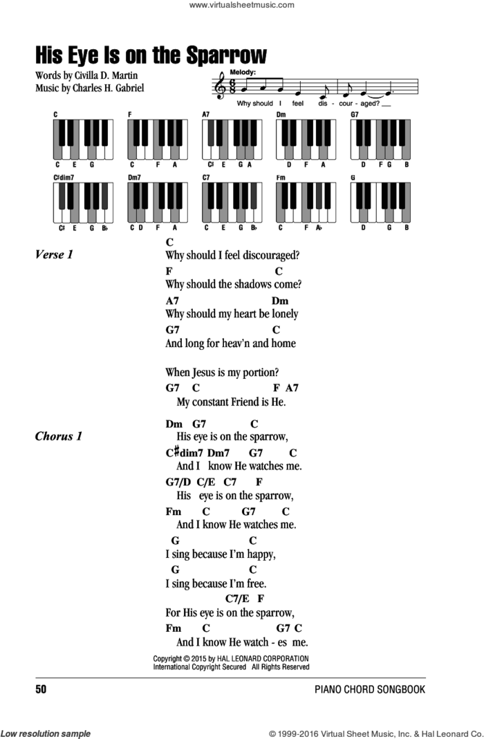 His Eye Is On The Sparrow sheet music for piano solo (chords, lyrics, melody) by Charles H. Gabriel and Civilla D. Martin, intermediate piano (chords, lyrics, melody)