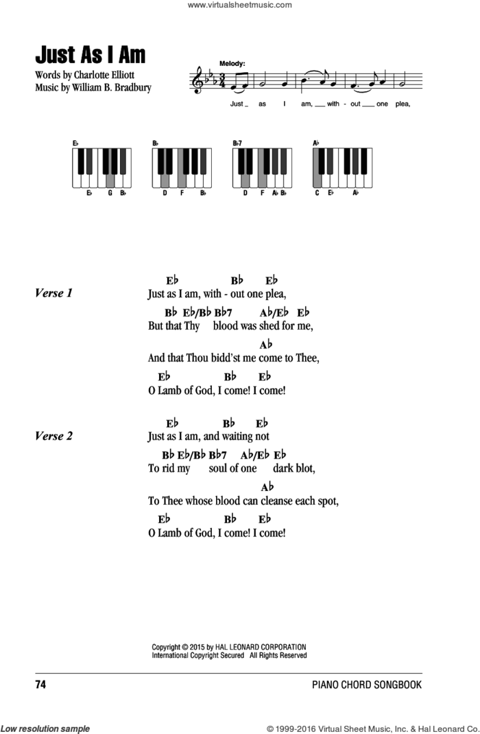 Just As I Am sheet music for piano solo (chords, lyrics, melody) by Charlotte Elliott and William B. Bradbury, intermediate piano (chords, lyrics, melody)