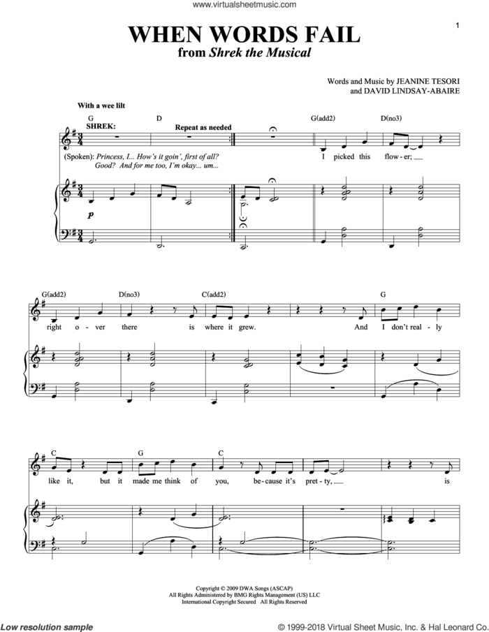 When Words Fail sheet music for voice and piano by Jeanine Tesori & David Lindsay-Abaire, Richard Walters, David Lindsay-Abaire and Jeanine Tesori, intermediate skill level